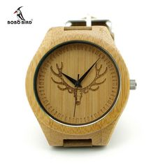 Head Natural Wood Watch With Genuine Cowhide Leather Band Lovers