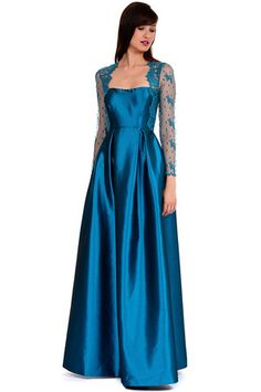 Gown Cut inspires some design ideas....Vintage Inspired Titanic Style Dresses for Sale - Kay Unger New York Full Skirt Lace Combination Gown in Teal $237.00#titanic #edwardian