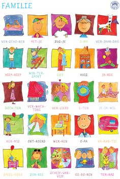 I chose this picture because of the symbol called Dutch language, it's a poster where dutch words are explained by a picture, with the subject family. Dutch Phrases, Dutch Words, Dutch Language, Language Study, Learn Dutch, Preschool Colors, School Items, How To Speak French, Learning Quotes