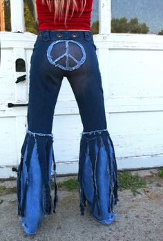 Chelsie Belles Womens designer hippie peace sign bell bottom blue jeans. custom order them in your size. $89.00, via Etsy.
