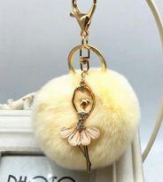 Ballerina Girl Fluffy Real Rabbit Fur Ball Keychain Car Key Chain Ring Decoration For Purse Bag Leather Tassel Keychain, Heart Keyring, Fendi, Key Chain Rings, Ballet Girls, Cowgirl Style, Rabbit Fur, Jewelry Sets, Coin Purse