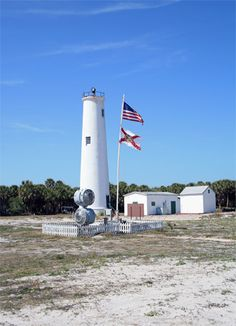 Egmont Key Lighthouse, Florida at Lighthousefriends.com...saw this one from Fort Desoto beach