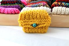 embellished knit pouch  knitted pouch mustard by baubleheadz