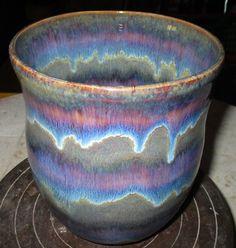 amaco Outmeal and Smokey Merlot over Iron Lustre, white stoneware clay, cone 6