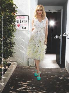 Nicole Richie wearing Louis Vuitton Spring 2012 Dress and Giuseppe Zanotti Shoes T Strap Platform Sandals.