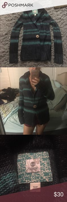 Element striped duster cardigan-never worn Beautiful blue and green duster cardigan by Element. Never worn. Has one wooden button snap in the middle for closure. Is 100% acrylic Element Sweaters Cardigans