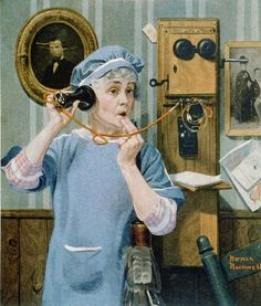 THE PARTY LINE. Norman Rockwell's 1919 magazine cover of LESLIE'S ILLUSTRATED WEEKLY NEWSPAPER , illustrates an elderly women shocked at what she hears by her party line eavesdropping. Throughout much of the 20th century, phone users shared lines with as many as ten households. When the line was in use, any of the other parties could listen to their neighbors' conversations.
