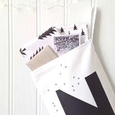MONOCHROME CHRISTMAS custom christmas stocking : 100% white cotton canvas, hand printed with initial letter + scattering of tiny grey dots