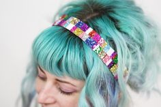 Wide Glitter Headband, Recycled Scraps Bright Coloured Headband, OOAK from High Barnet. Creative Inspiration, Hair Inspiration, Silver Headband, Silver Glitter, Halloween Makeup, One Pic, Bright Colors, Headbands, Recycling