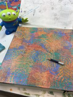 """In Sue Davis's studio. Starting to """"find the shapes """" Space Painting, Diy Painting, Gelli Printing, Stencil Art, Mixed Media Painting, Art Techniques, Art Tutorials, Art Images, Collage Art"""