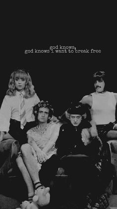 "Queen in their ""I Want To Break Free"" outfits 😆"