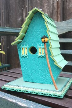 Birdhouse  Original Folk Art  Forest Cottage....Love the lamp, wish it was solar operated....
