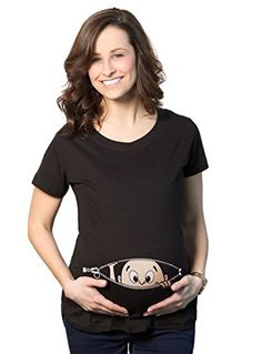 Womens Caucasian Peeking Baby Pregnancy BLACK Maternity T-shirt -L