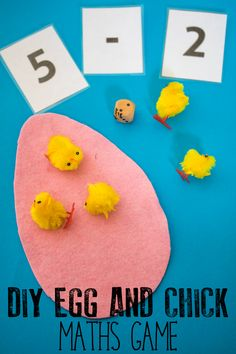 Quick and easy to create Easter or spring themed mathematics game for toddlers and preschoolers. Start with counting with 1 to 1 correspondence and then develop the activity for addition and subtraction. Easter Activities For Preschool, Spring Activities, Easter Crafts For Kids, Kindergarten Activities, Toddler Preschool, Stem Activities, Subtraction Activities, Math Games, Math Subtraction