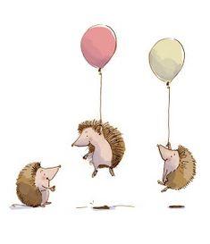 Hedgehog Animal, Hedgehog Art, Cute Hedgehog, Hedgehog Illustration, Balloon Illustration, Children's Book Illustration, Book Illustrations, Simple Illustration, Hedgehog Drawing