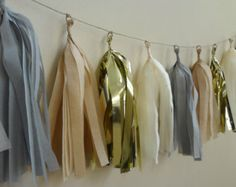 Neutral Tan, Gray, Ivory and Gold Tissue Tassel Garland - One Stylish Party