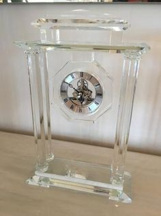 Glass & Crystal Carriage / Mantel Clock
