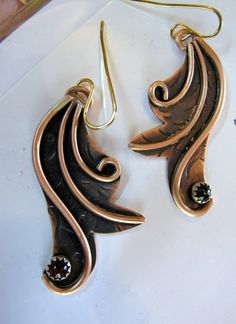Graceful Copper and Garnet Earrings by sistersilver on Etsy, $35.00