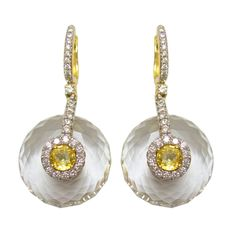 1stdibs - Yellow Sapphire, Diamond & Rock Crystal Earrings in 18K explore items from 1,700  global dealers at 1stdibs.com
