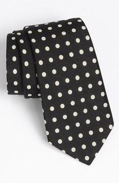 Look sharp! B Polka Dot tie.