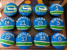 Cupcakes Take The Cake: Vancouver Canucks hockey cupcakes Hockey Birthday Parties, Hockey Party, Boy Birthday, Birthday Cakes, Birthday Ideas, Third Birthday, Vancouver Canucks, Montreal Canadiens, Hockey Cupcakes