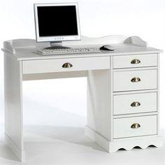 Schreibtisch mit Aufsatz in weiß lackiert