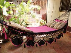 Beautiful Two Colors Fuchsia-Black Double Hammock handmade Natural Cotton Special Fringe from hamanica on Etsy. Pergola Garden, Pergola Swing, Metal Pergola, Pergola Shade, Pergola Plans, Pergola Kits, Pergola Ideas, Outdoor Pergola, Balcony Ideas