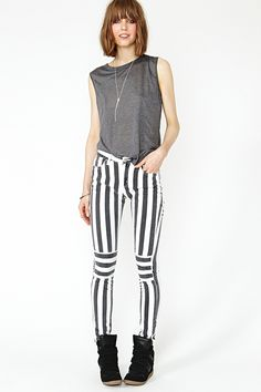 Not sure I could pull it off but love these.  New Direction Skinny Jeans