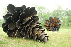 These giant cones are made from the old shovels and some Corten steel - art by Patrick Plourde, http://tinyurl.com/7mcjchd