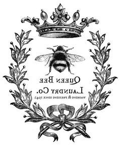 Details about Furniture Decal Image Transfer Vintage Queen B.- Details about Furniture Decal Image Transfer Vintage Queen Bumble Bee Wreath Diy Shabby Chic Furniture Decal Image Transfer Vintage Queen Bumble Bee Wreath Diy Shabby Chic Vintage Bee, Vintage Labels, Vintage Prints, Vintage Graphics Free, Vintage Ephemera, Queen Bees, Graphics Fairy, Etiquette Vintage, Decoupage
