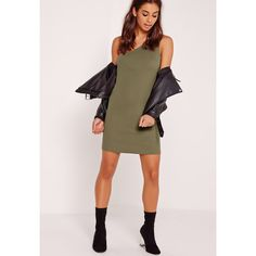 Missguided One Shoulder Rib Mini Dress ($14) ❤ liked on Polyvore featuring dresses, khaki, one shoulder mini dress, pink dress, one shoulder dress, mini dress and khaki dress