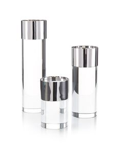 Set of Three Crystal and Nickel Candleholders - Accessories - Accessories & Botanicals - Our Products