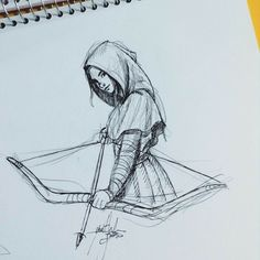 Drawing of girl with bow and arrow Drawing arrow bow drawing Drawing girl girl Cool Art Drawings, Pencil Art Drawings, Art Drawings Sketches, Drawing Ideas, Drawings Of Girls, Drawing Tips, Drawing With Pencil, Pencil Sketch Art, Sketches Of Girls