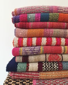 Each of these handmade rugs takes days for its maker to produce! These unique gems are available exclusively in-store. #Cambie #Design #Peruvian #Wool #Handmade #Rug #Stripes #SouthAmerican