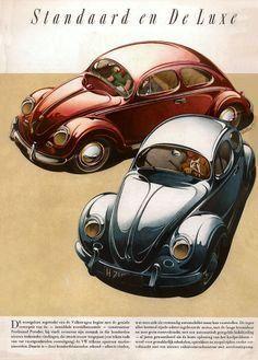 Ad 1952 VW Sedan and Deluxe Dutch brochure Ferdinand Porsche, Kdf Wagen, Cowgirl Photo, Vw Vintage, Vw Cars, Convertible, Car Posters, Vw Volkswagen, Vw Beetles