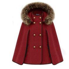 Zicac- Poncho à capuche avec fourrure femme Batwing en laine manteau forme chauve-souris l`hiver: Amazon.fr: Vêtements et accessoires