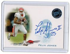 2008 Press Pass Felix Jones Blue Ink Rookie Autographed Card #D/25 Dallas Cowboy…