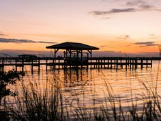 At about 150 feet long, the dock reaches out into the Indian River, a perfect place to catch the sunset.