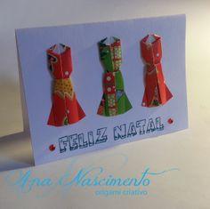 Cartão de natal com lindos vestidinhos de origami!!!