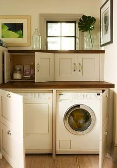Small Laundry Room with storage. Storage ideas for small laundry room. Mudroom Laundry Room, Laundry Decor, Small Laundry Rooms, Laundry Storage, Laundry Room Organization, Laundry Room Design, Laundry Area, Laundry In Kitchen, Hidden Kitchen