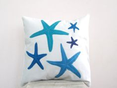 Throw pillow: blue turquoise starfish pillow for beach house or cottage, eco friendly beach pillow