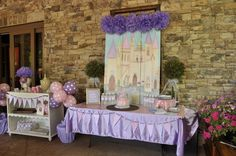 Princess party decor with beautiful painted backdrop #princess #party