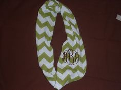 Chevron+monogrammed+knit+infinity+scarf+by+NiftyNookEmbroidery,+$13.00