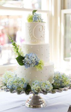 Gorgeous blue hydrangea topped white wedding cake; Via Sweet Fix RVA