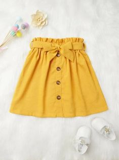 To find out about the Toddler Girls Button Front Belt Skirt at SHEIN, part of our latest Toddler Girl Skirts ready to shop online today! Baby Outfits, Baby Girl Dresses, Baby Dress, Kids Outfits, Cute Outfits, Toddler Outfits, Little Girl Skirts, Skirts For Kids, Cute Skirts
