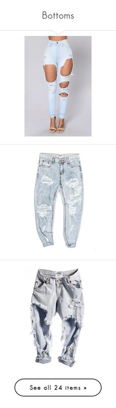 """Bottoms"" by badbihgang ❤ liked on Polyvore featuring jeans, bottoms, pants, blue colour jeans, light blue jeans, blue jeans, clothing - trousers, denim, blue denim jeans and boyfriend jeans"