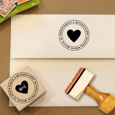 Heart Custom Address Stamp for Save the Dates & Wedding Invitations by Designkandy $28.00