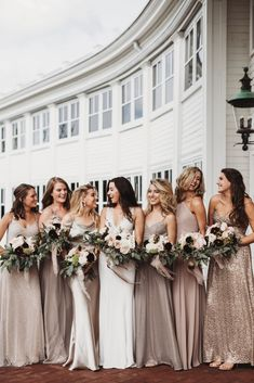 Mix Match Bridesmaids, Mismatched Bridesmaid Dresses, Bridesmaid Dress Colors, Bridesmaids And Groomsmen, Wedding Bridesmaid Dresses, Gold Glitter Bridesmaid Dresses, Bridesmaids With Different Dresses, Pink Bridesmaids, Copper Dress