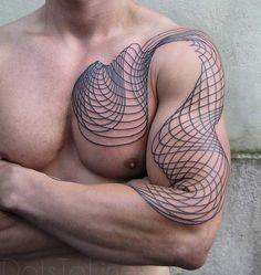 Line art tattoo by Chaim Machlev