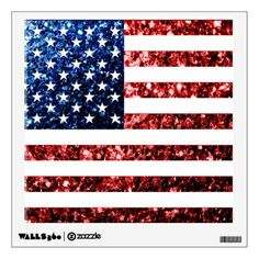 USA flag red and blue sparkles glitters Wall Decal by #PLdesign #USASparkles #SparklesGift